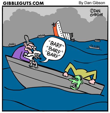 dog seasick cartoon from Gibbleguts.com