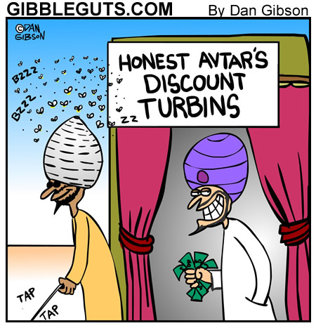 Bee in turbin cartoon from Gibbleguts.com