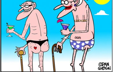 bikini and speedo cartoon