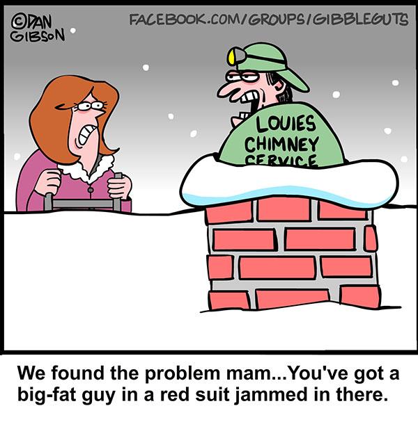 santa stuck in chimney