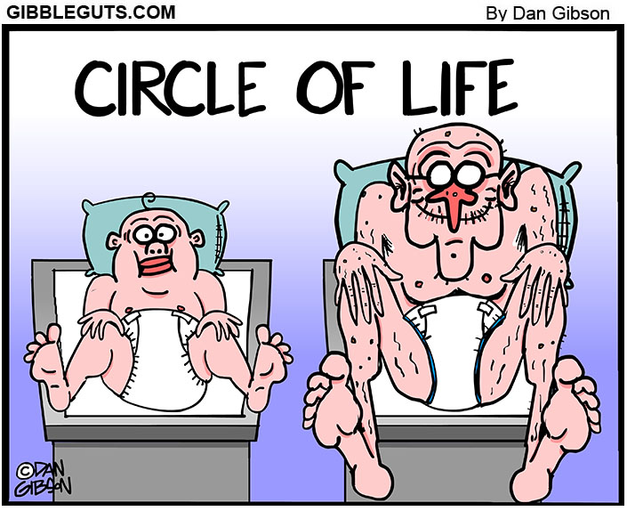 circle of life old people cartoon