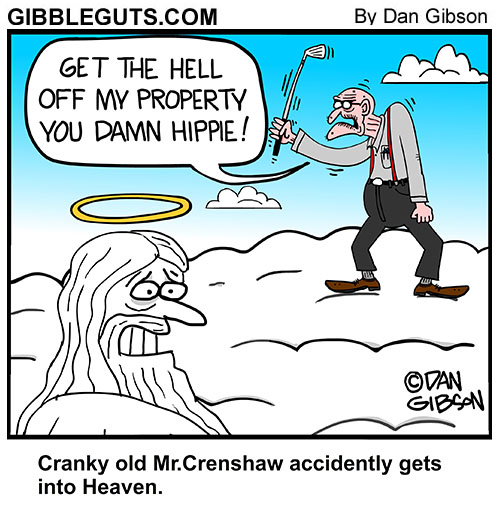 cranky old man in heaven cartoon