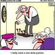 Herb playing darts cartoon