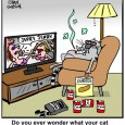 cat watching TV Cartoon
