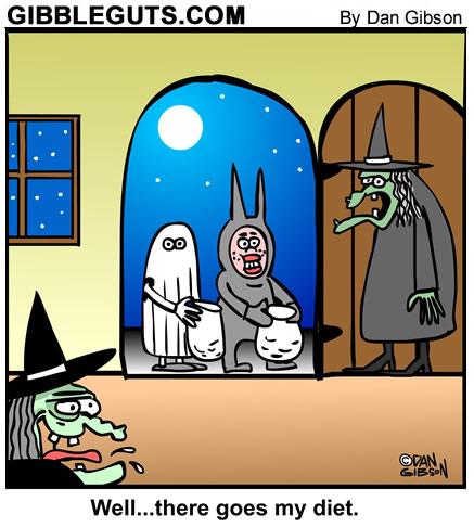 Halloween witch cartoon from Gibbleguts.com