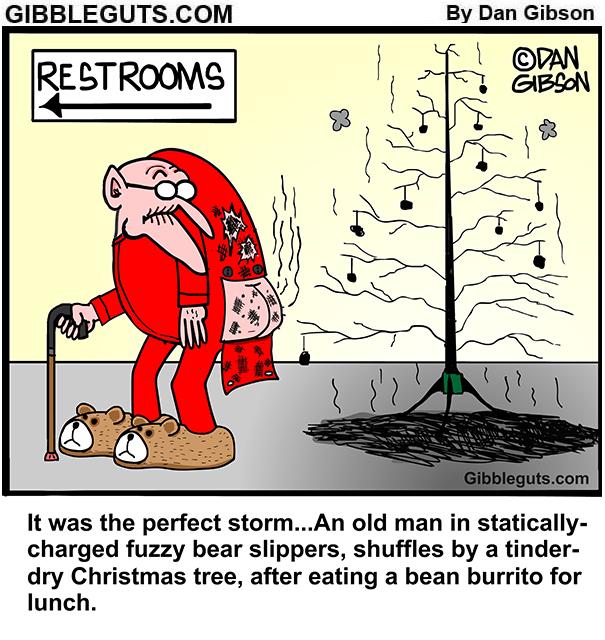 dry christmas tree cartoon