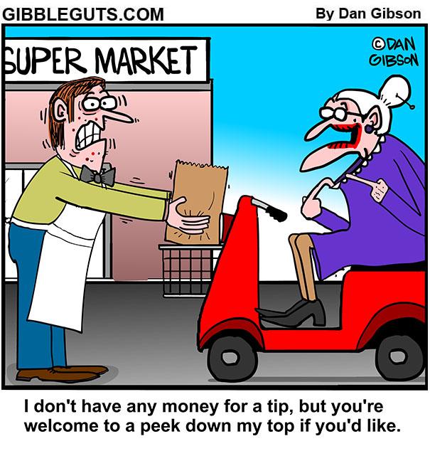 tillie gives bag boy a tip
