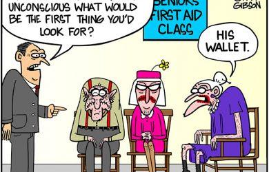 first aid class cartoon