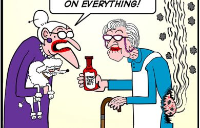 franks red hot sauce lady cartoon