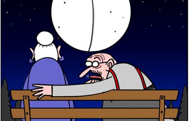 full moon love cartoon