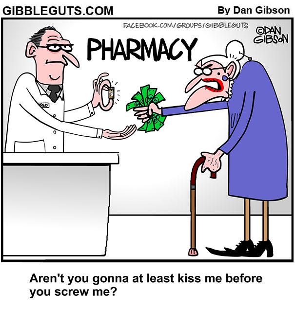 pharmacy prescription rip off cartoon