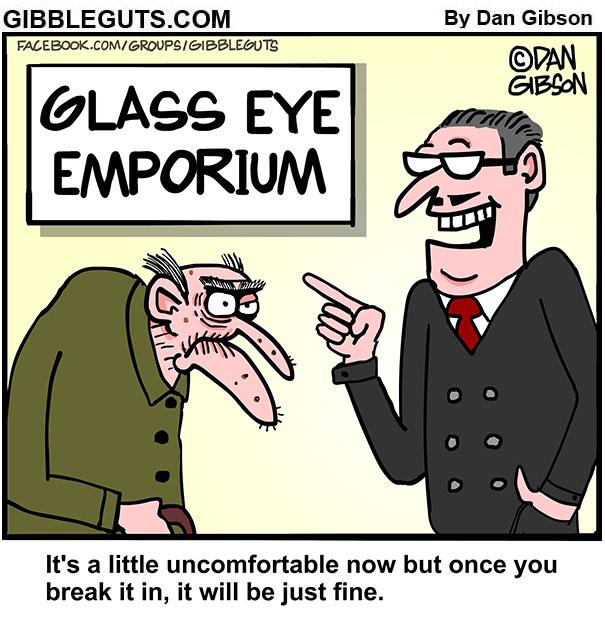 glass eye shopping cartoon