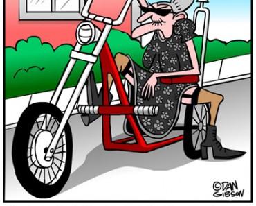 granny biker cartoon