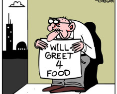 Greeter cartoon