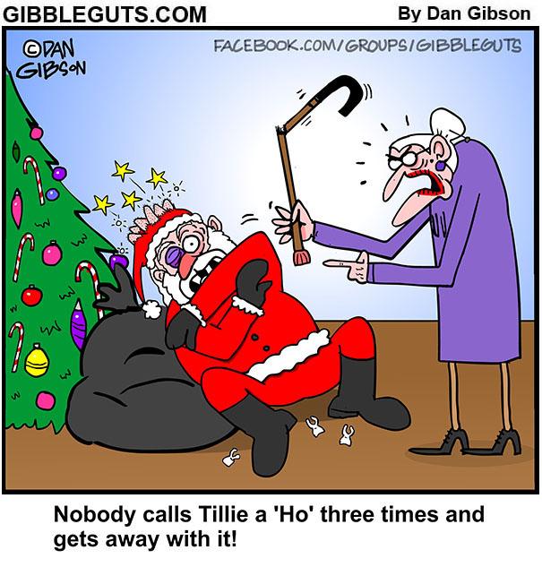 Santa Claus Christmas beat down cartoon