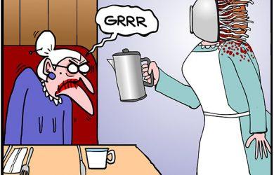 waitress cartoon