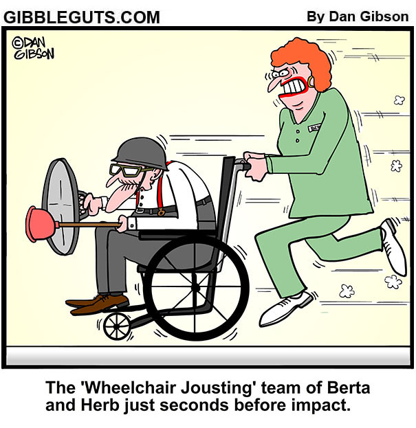 wheelchair jousting cartoon