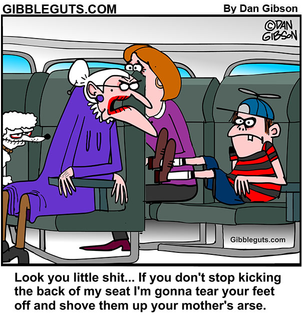 kicd kicking the back of seat cartoon