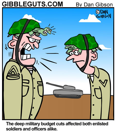 Military Budget Cuts Cartoon cartoon. A cartoon from Gibbleguts.com