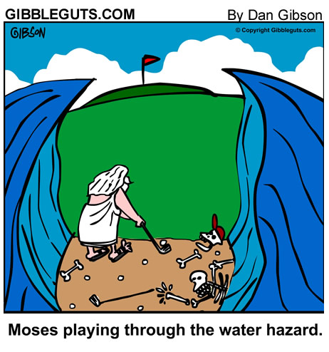 moses golf cartoon