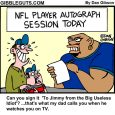football player autograph