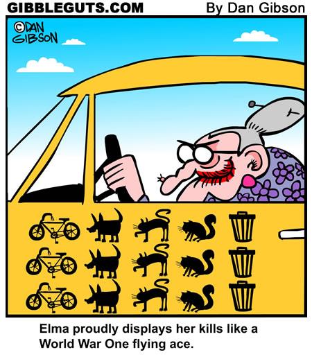 Elderly driver cartoon from Gibbleguts.com