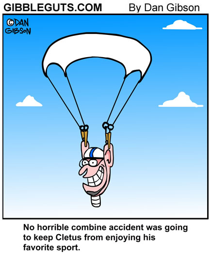 parachute  accident cartoon from Gibbleguts.com