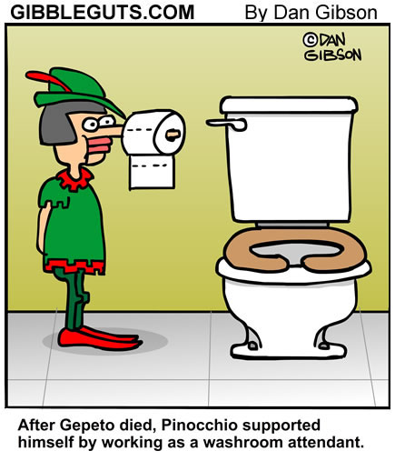 Pinnochio Bathroom Attendant Cartoon