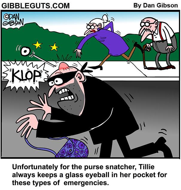 purse snatcher cartoon