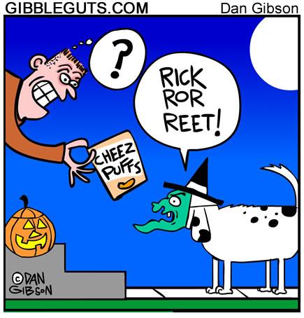 Halloween dog trick or treating cartoon