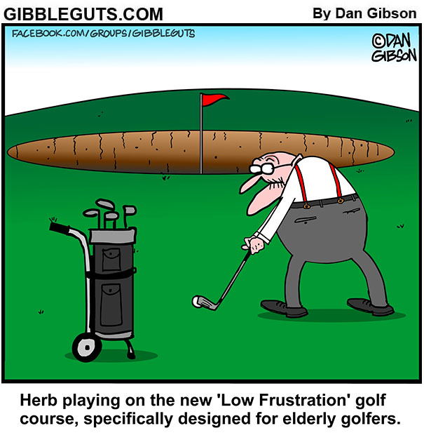 seniors golf course cartoon
