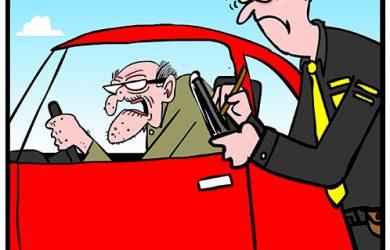elderly driver cartoon