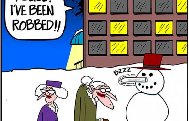 snowman old lady cartoon