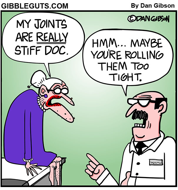 stiff joints cartoon