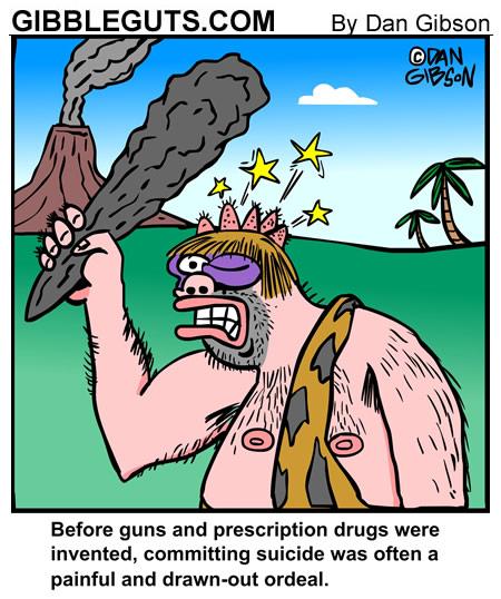 Caveman suicide cartoon. A cartoon from Gibbleguts.com