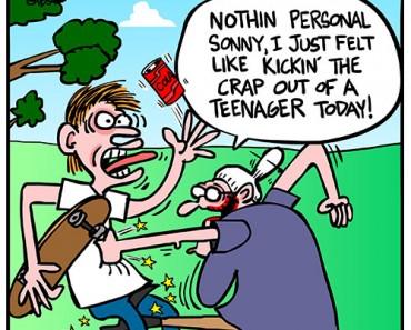 teenager and senior cartoon