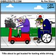 texting while driving cartoon