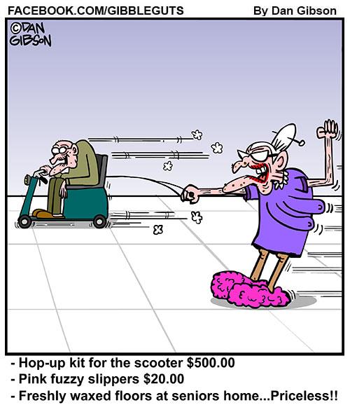 water ski seniors cartoon