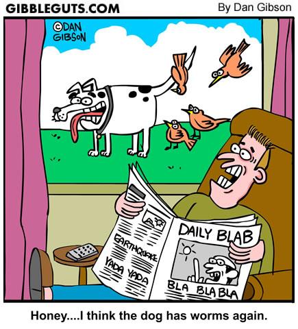 Dog worms cartoons by Gibbleguts.com