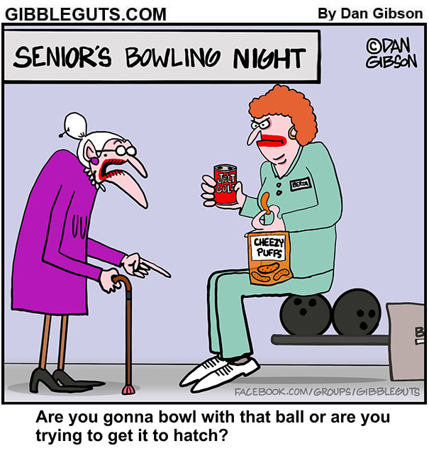 seniors bowling night cartoon