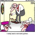 Herb playing darts cartoon