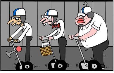 nerd segway cartoon