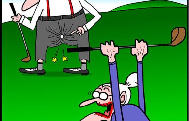 golfing cartoon