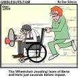 wheelchair jousting cartoon