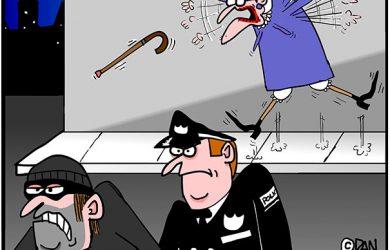 old lady mugged cartoon